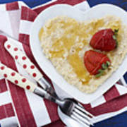 Healthy Breakfast Oats On Heart Shape Plate Poster