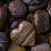 Heart Stone On River Rocks Poster