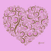 Heart With Pink Flowers And Swirls Poster