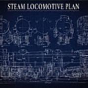 Heavy Steam Locomotive Blueprint Poster