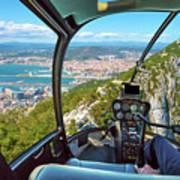Helicopter On Gibraltar Rock Poster