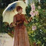 Henri Emile De Sachy France 19th Century Elegant Young Lady In The Garden Walk At Hollyhocks Poster