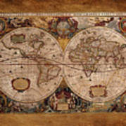 Henry Hondius Seventeenth Century World Map Poster by Skye Ryan-Evans