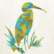 Heron Watercolor Art Poster