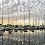 Herringbone Sky Patterns With Yachts And Boats  Poster