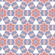 Hexagonal Flower Pattern Poster