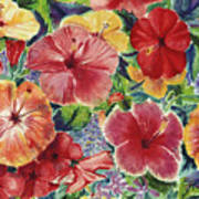 Hibiscus Impressions Poster