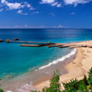 High Angle View Of A Pier On Crashboat Beach Puerto Rico. Poster