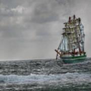 High Seas Sailing Ship Poster by Randy Steele