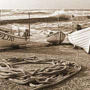 High Tide In Sennen Cove Sepia Poster