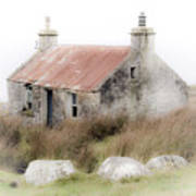Highland Cottage In The Mist Poster