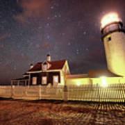 Highland Light Truro Massachusetts Cape Cod Starry Sky Shadow Poster