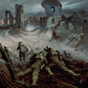 Highlanders Advancing To Caen Poster by Orville Norman Fisher