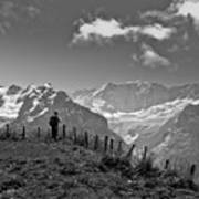 Hiker In The Alps Poster
