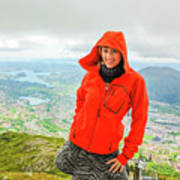 Hiker Woman In Norway Poster
