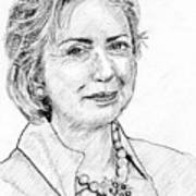 Hillary Clinton Pencil Portrait Poster by Rom Galicia