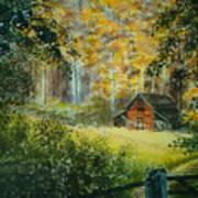 Hillside Barn Poster