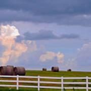 Hillside Hay Bales At Sunset Poster