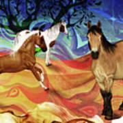 Hillside Horses Poster