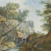 Hilly Landscape With A River And Figures In The Background Poster
