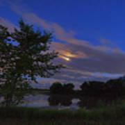 Hinkley Pond Moonset Poster