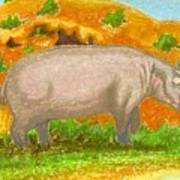 Hippo In The Savanna Poster