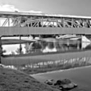 Historic Halls Mill Bridge Reflections Black And White Poster