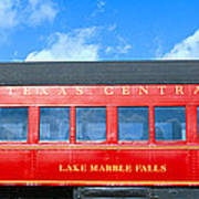 Historic Red Passenger Car, Austin & Poster