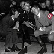 Hitler Conferring With Joseph Goebbels Circa 1936 Color Added 2016 Poster