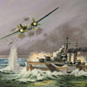 Hms Ulysses Attacked By Heinkel IIis Off North Cape Poster