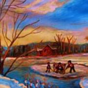Hockey Game On Frozen Pond Poster