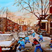 Hockey Gameon Jeanne Mance Street Montreal Poster