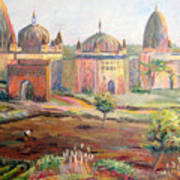 Hoeing By Hand In Orchha India Poster