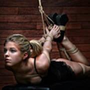 Hogtie - Tied Up Girl - Fine Art Of Bondage Poster by Rod Meier