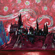 Hogwarts Starry Night In Red Poster