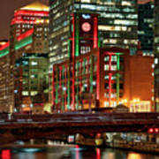 Holiday Colors Along Chicago River Poster