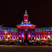 Holiday Light Panorama Of The Denver City And County Building Poster