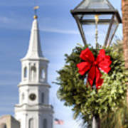 Holiday Wreath St Michaels Church Charleston Sc Poster