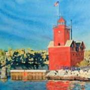 Holland Lighthouse - Big Red Poster