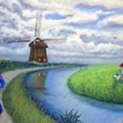 Holland Windmill Bike Path Poster
