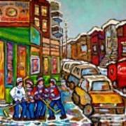 Home Town Painting St Viateur Bagel Street Scene Coca Cola Truck Montreal 375 Carole Spandau Art     Poster