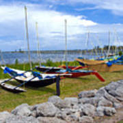 Homemade Outriggers Canoes On The Indian River Lagoon In Florida Poster