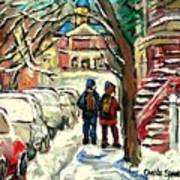 Original Art For Sale Montreal Petits Formats A Vendre Walking To School On Snowy Streets Paintings Poster