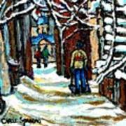 Buy Original Paintings Montreal Petits Formats A Vendre Scenes Man Shovelling Snow Winter Stairs Poster