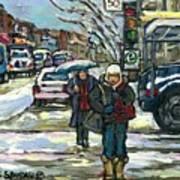 Rue Cote St Catherine Peintures Petit Format A Vendre Scenes De Ville Montreal Street Scenes  Poster