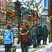 Promenade Au Centre Ville Rue Ste Catherine Montreal Winter Street Scene Small Paintings  For Sale Poster