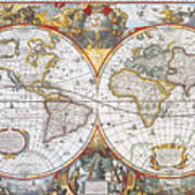 Hondius World Map, 1630 Poster by Photo Researchers