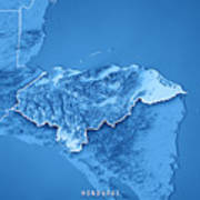 Honduras Country 3d Render Topographic Map Blue Border Poster