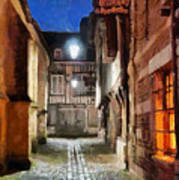 Honfleur Street At Night Poster