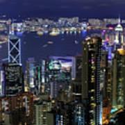Hong Kong At Night Poster by Leung Cho Pan